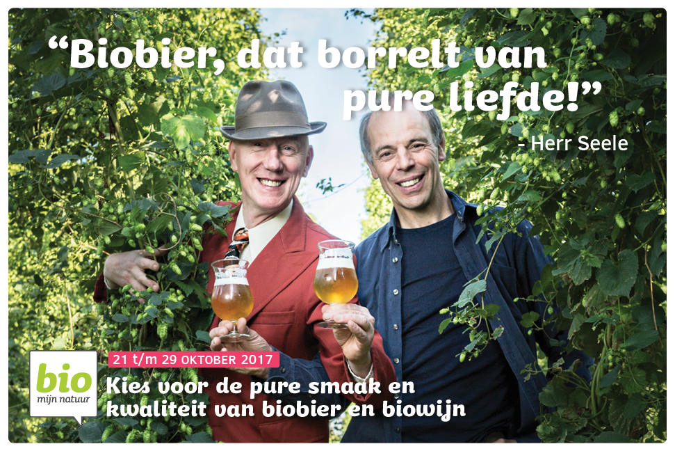 Campagnefoto met biohopteler Joris Cambie en Herr Seele