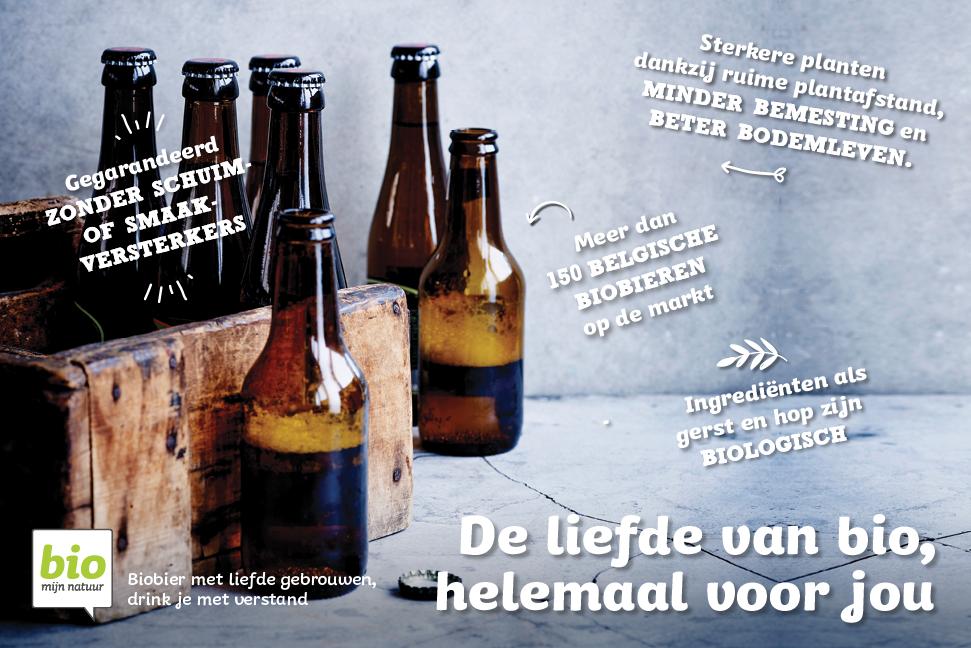 Productfoto met weetjes over biologisch bier